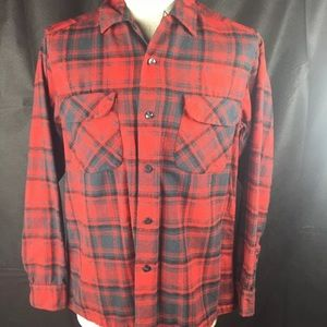 Pendleton Board Shirt Red Black Wool Flannel USA